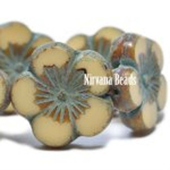 21mm 1 Bead Hibiscus Flower Beige With Picasso Finish Czech Glass Hawaiian Flower