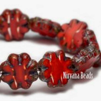 09mm Cactus Flower Beads R Red Striped Wholesale Czech Glass Flat Flower 25 Beads Orange Opaque Mixed With Transparent Color Striped