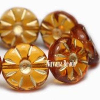 12mm Daisy Flower Beads Y Amber Daisy 15 Beads Amber With Gold Color Finish
