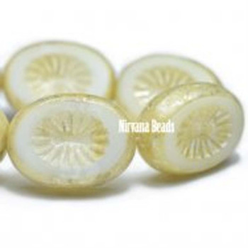 14x10mm Carved Kiwi Beads 10 Beads A Blend Of Semi-Opaque And Opaque White With A Yellow Ivory And Mercury Finish