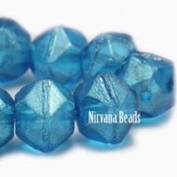 10mm Czech Glass English Cut Beads 15 Beads Capri Blue With Golden Luster