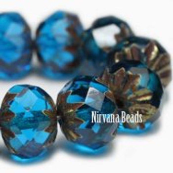 09x06mm Cruller Beads Be Capri Blue Czech Glass Cruller Beads 25 Beads Capri Blue With Brass Color Finish