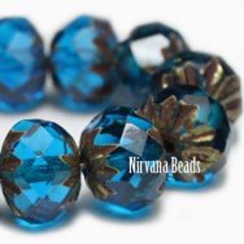 09x06mm Cruller Beads Be Capri Blue Czech Glass Cruller Beads 25 Beads Capri Blue With Brass Color Finish