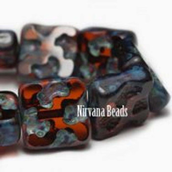 10mm Czech Glass Square Beads 15 Beads Dark Amber With Picasso Finish