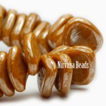 8x7mm Carved Drop Beads 50 Beads Luster Mustard