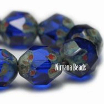 10mm Central Cuts - Baroque Beads 25 Beads Transparent Sapphire With Picasso Finish