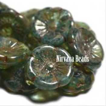 12x7mm Czech Glass Button Flowers 10 Beads Aqua With Picasso Finish