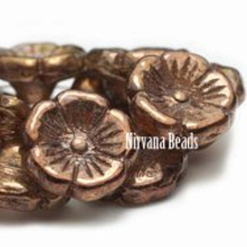 12mm Button Flower Beads Bn Copper Finish 10 Beads Transparent With Copper Finish