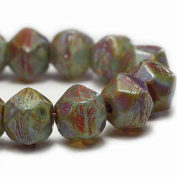 10mm Czech Glass English Cut Beads 15 Beads Opaque And Transparent Purple With Picasso Finish