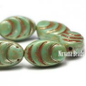 13x08mm Oval Cocoon Beads 12 Beads Green Turquoise With A Silverish Picasso Finish