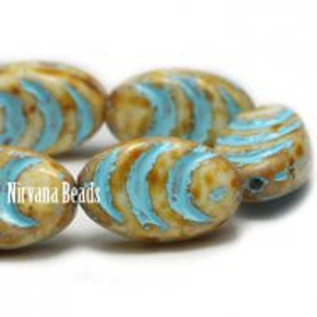 13x08mm Oval Cocoon Beads 12 Beads Opaque White With Picasso Finish And Turquoise Wash