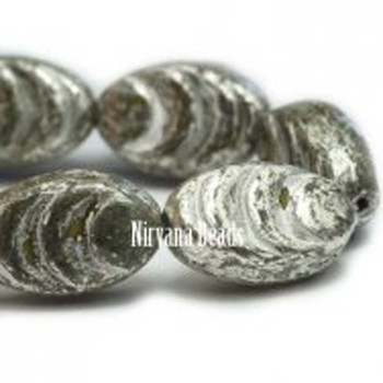 13x08mm Oval Cocoon Beads 12 Beads Opaque Green Stone With A Mercury Finish (This Item Does Not Contain Mercury)