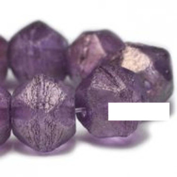 10mm Czech Glass English Cut Beads 15 Beads Amethyst With Golden Luster