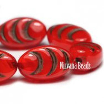 13x08mm Oval Cocoon Beads 12 Beads Red Orange With A Brown Finish