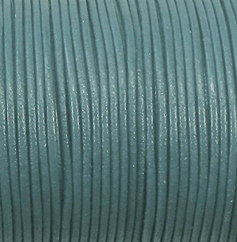 Imported India Leather Cord 2mm Round 5 Yards Dyed DK Aqua Blue C-Lea2mm-5Y-005
