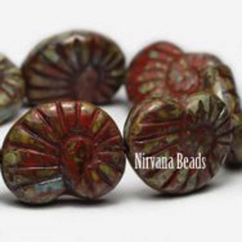 16x14mm Glass Shell Beads 1 Bead Brown With Gold Finish