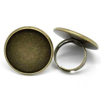 Antiqued Brass/Gold Plated 24mm Bezel Cup Ring Settings Adjustable Us 6 75 Or Larger Sold Per 10 Rb19546