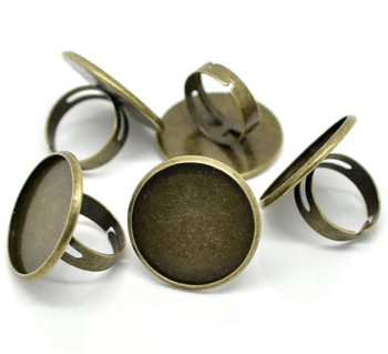 Antiqued Brass/gold Plated 24mm Bezel Cup Ring Settings Adjustable Us 6.75 or Larger, Sold Per Pack of 10
