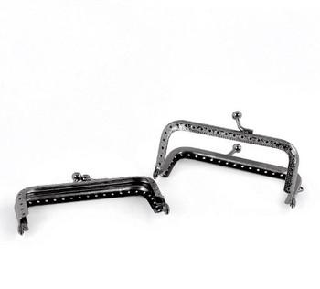 2 Gunmetal Purse Bag Metal Frame Kiss Clasp Lock 3 1/2 Inch x 2 Inch 2 Pack Rb22262