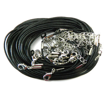 20 Imitation Leather Cord Necklaces Black 18 Inch Lobster Clasp