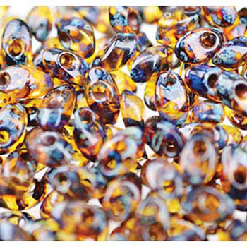 Picasso Dark Amber 8.5 Grams 4x7mm Miyuki Long Magatama Glass Fringe Beads Lma-4502
