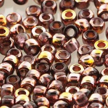Matubo Czech Glass Seed Beads 7/0 (3.5mm) 8 Grams 1.5mm Hole Amethyst Capri Gold