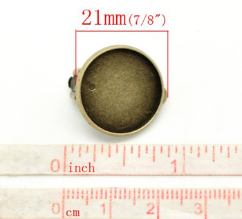 20 Antiqued Brass/gold Round Earring Ear Clip Cabochon Frame Setting 21x20 Fits 18mm 10 Pair