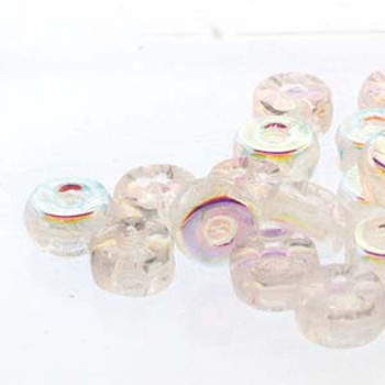 Octo 8x4mm 3-Hole Coin Crystal AB 20 Czech Glass Beads