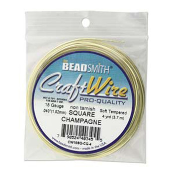 Craft Wire 18 Gauge Square 4 Yards / Champagne Gold