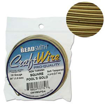 Craft Wire 18 Gauge Square 4 Yard Spool Fools Gold
