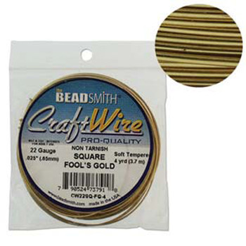 Craft Wire 22 Gauge Square 4 Yard Spool Fools Gold