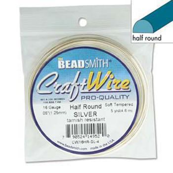 Craft Wire 16 Gauge Half Round 4 Yards Silver
