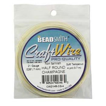 Craft Wire 21 Gauge Half Round 4 Yards / Champagne Gold