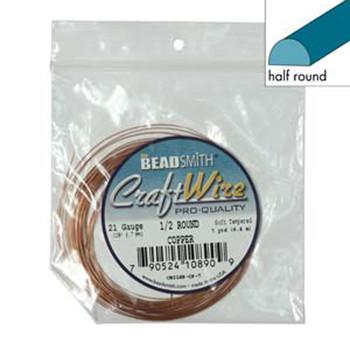 Craft Wire 21 Gauge Half Round 7 Yards Copper