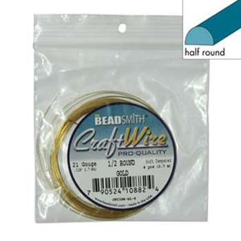 Craft Wire 21 Gauge Half Round 4 Yards Gold