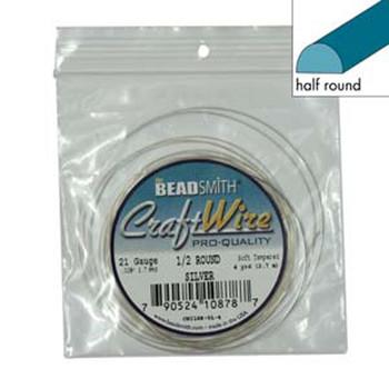 Craft Wire 21 Gauge Half Round 4 Yards Silver