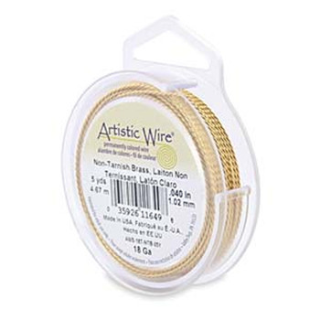Artistic Wire 18 Gauge Twisted Round Brass 5 Yard