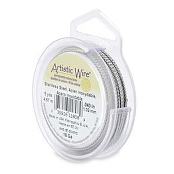 Artistic Wire 18 Gauge Twisted Round Stainless Steel 5 Yard