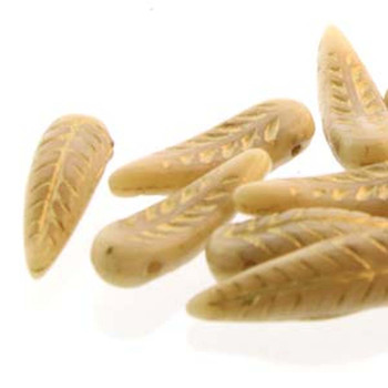 Bird Feather 5x17mm Beige Gold 24 Beads