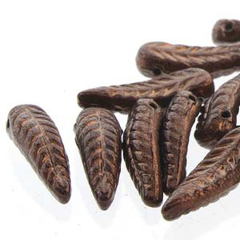 Bird Feather 5x17mm Jet Bronze 24 Beads