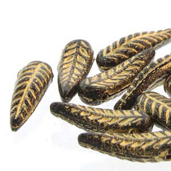 Bird Feather 5x17mm Jet Gold 24 Beads