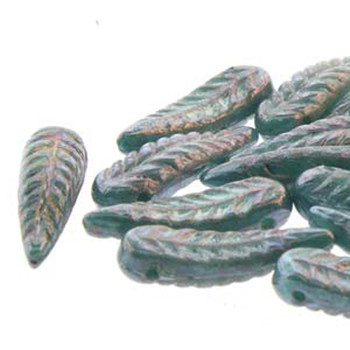 Bird Feather 5x17mm Turquoise Nebula 24 Beads