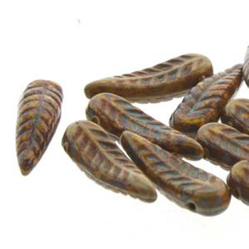 Bird Feather 5x17mm Lemon Travertine 24 Beads