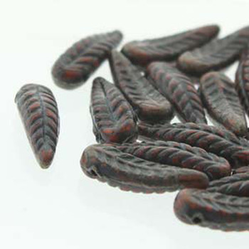 Bird Feather 5x17mm Orange Travertine 24 Beads