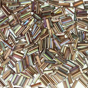 Premium Czech Glass Bugle Beads 7mm Crystal Rainbow Copper 24 Grams