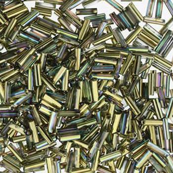 Premium Czech Glass Bugle Beads 7mm Crystal Rainbow Gold 24 Grams
