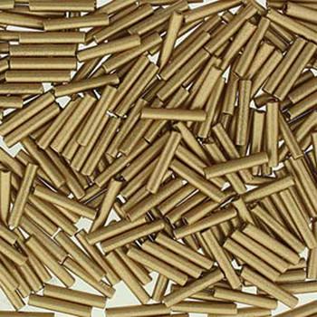 Premium Czech Glass Bugle Beads 12mm Bronze Pale Gold 24 Grams