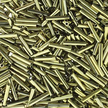 Premium Czech Glass Bugle Beads 12mm Full Amber/Gold