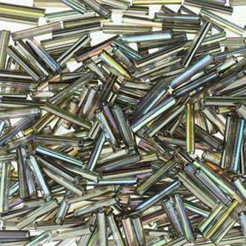 Premium Czech Glass Bugle Beads 12mm Crystal Rainbow Graphite 24 Grams