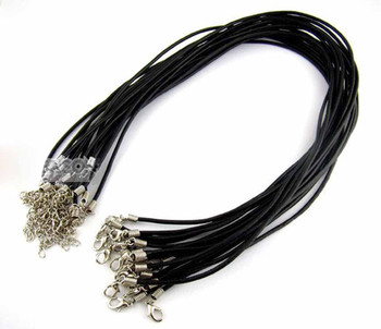 20 Leather Cord Necklaces Black 17 Inch Lobster Clasp Extension Chain Rb00718